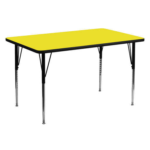 Flash Furniture XU-A3060-REC-YEL-H-A-GG 30''W x 60''L Rectangular Yellow HP Laminate Activity Table - Standard Height Adjustable Legs