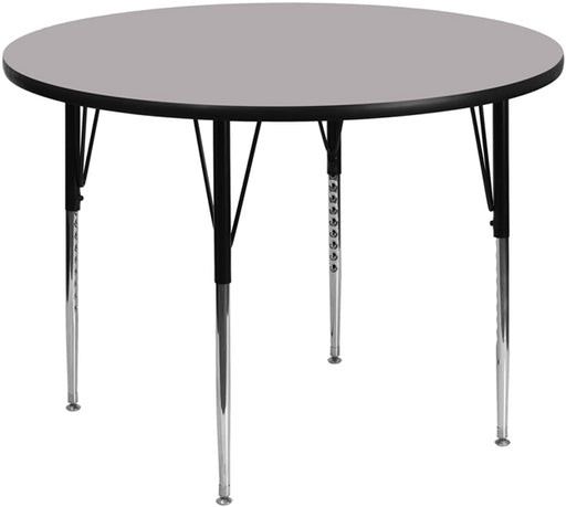 Flash Furniture XU-A42-RND-GY-T-A-GG 42'' Round Grey Thermal Laminate Activity Table - Standard Height Adjustable Legs
