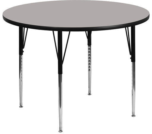 Flash Furniture XU-A48-RND-GY-H-A-GG 48'' Round Grey HP Laminate Activity Table - Standard Height Adjustable Legs