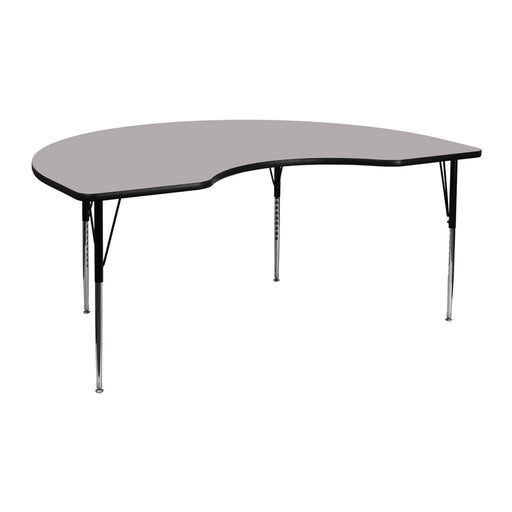 Flash Furniture XU-A4872-KIDNY-GY-T-A-GG 48''W x 72''L Kidney Grey Thermal Laminate Activity Table - Standard Height Adjustable Legs