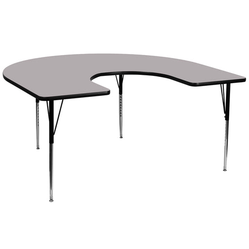 Flash Furniture XU-A6066-HRSE-GY-T-A-GG 60''W x 66''L Horseshoe Grey Thermal Laminate Activity Table - Standard Height Adjustable Legs