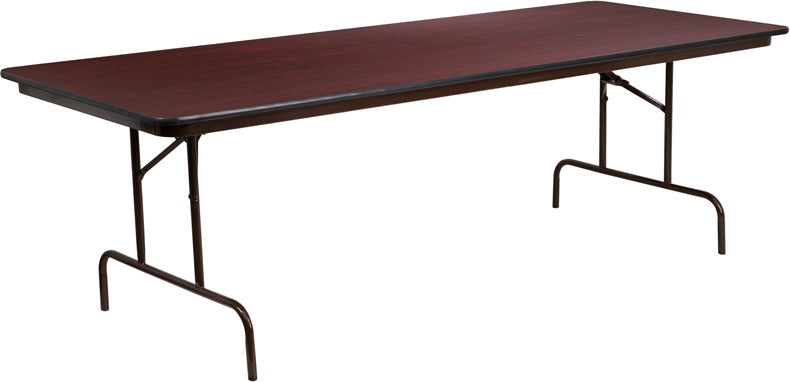 Flash Furniture YT-3696-MEL-WAL-GG 36'' x 96'' Rectangular Mahogany Melamine Laminate Folding Banquet Table