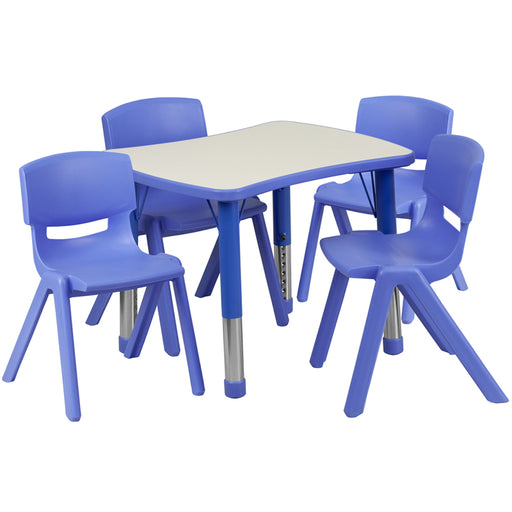 Flash Furniture YU-YCY-098-0034-RECT-TBL-BLUE-GG 21.875''W x 26.625''L Rectangular Blue Plastic Height Adjustable Activity Table Set with 4 Chairs