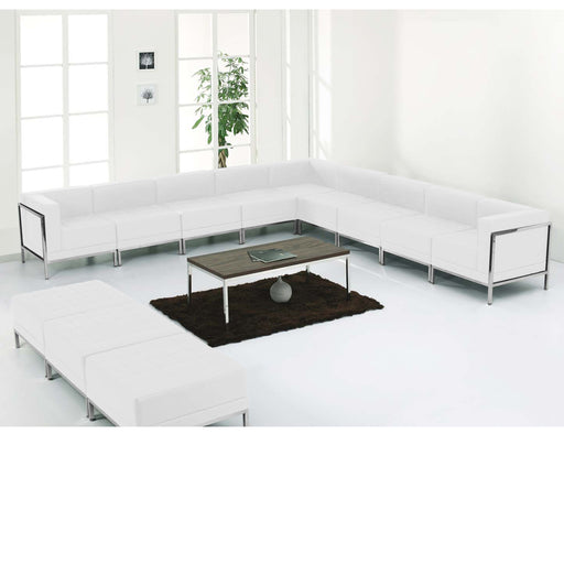 Flash Furniture ZB-IMAG-SET18-WH-GG HERCULES Imagination Series Melrose White Leather Sectional & Ottoman Set, 12 Pieces