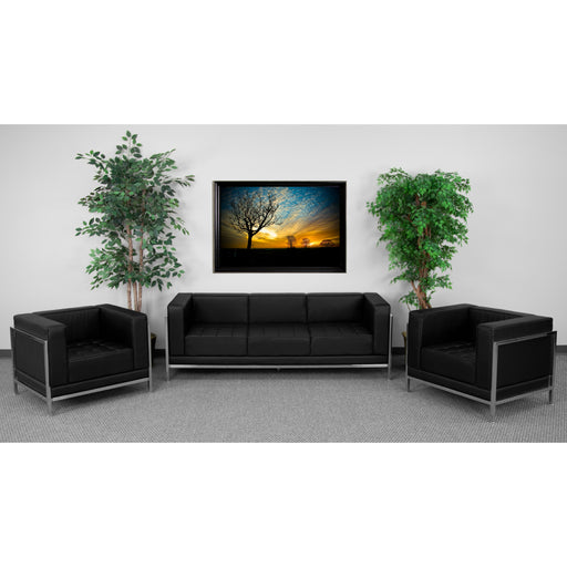Flash Furniture ZB-IMAG-SET3-GG HERCULES Imagination Series Black Leather Sofa & Chair Set - ZB-IMAG-SET3-GG