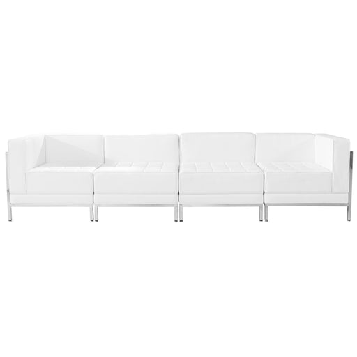 Flash Furniture ZB-IMAG-SET8-WH-GG HERCULES Imagination Series Melrose White Leather 4 Piece Lounge Set