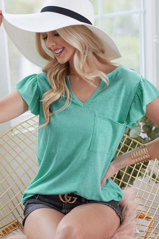 TRIBLEND WITH RUFFLE SLEEVE AND POCKET V NECK TOP