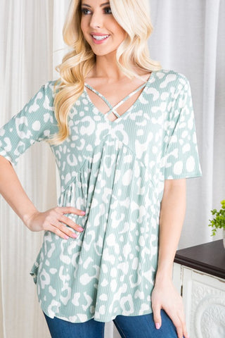 Crisscross Babydoll in Mint Animal Print