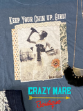 Keep Your Chin Up Girl - Unisex-sized Graphic Print Slate Crewneck Tee