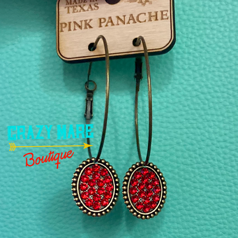 Pink Panache - Red stones on hoop Earrings