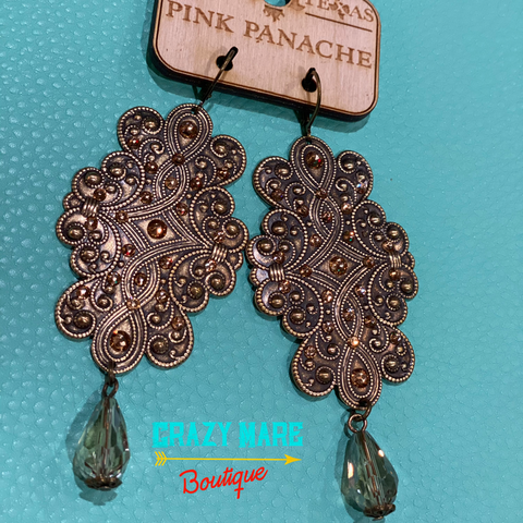 Pink Panache - Metal Earrings - Clear Tan Dangle