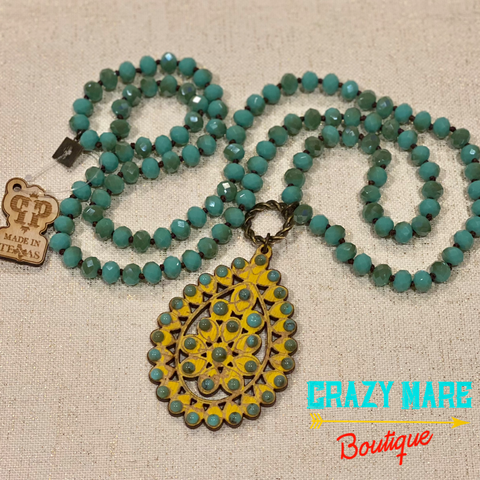 Pink Panache - Turquoise & Mustard Necklace
