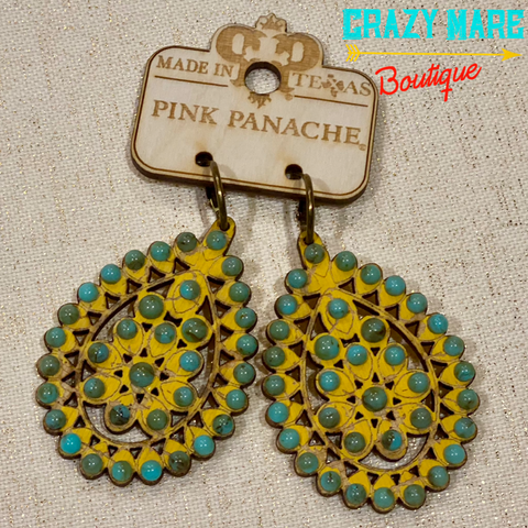 Pink Panache - Turquoise & Mustard Earrings