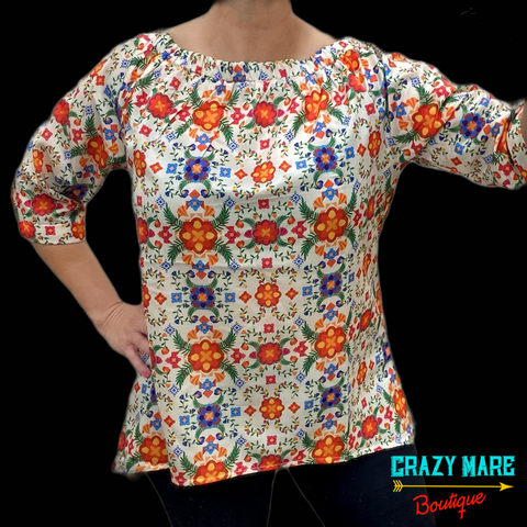 Mexican Embroidery off the shoulder Top