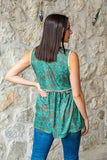 Turquoise Tooled Color Block Top