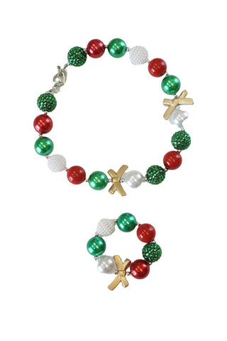 Kid's Christmas Necklace and Bracelet Set