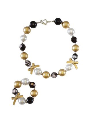 Kid's Black and Gold Necklace and Bracelet Set