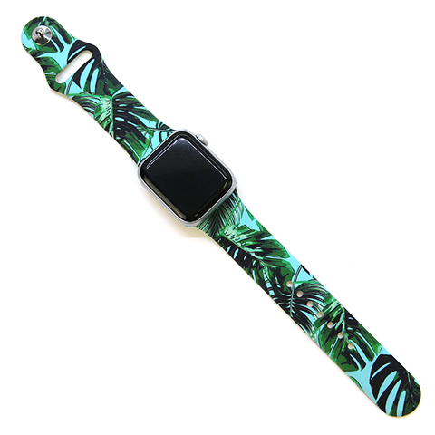 Watch Band 38mm 40mm tropical leaves turquoise