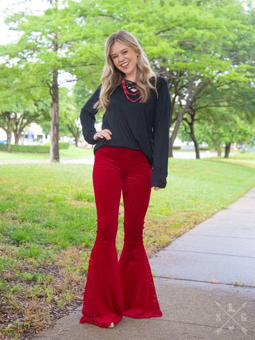 Graced in Lace Velvet Flare Pants, Red
