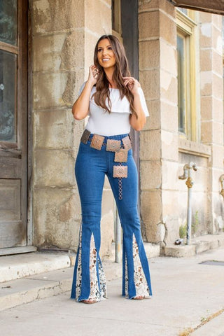 High-Rise Lace Flare Jeans