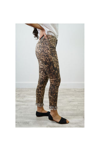 LEOPARD MID RISE FRAYED HEM JEANS