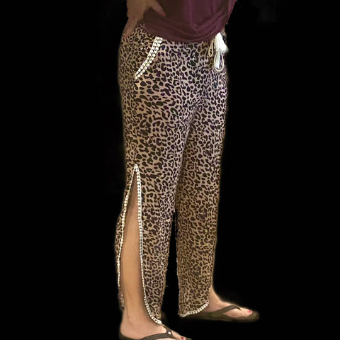 On the Pier Split Hem Leopard Pants