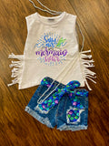 SALTY AIR AND MERMAID  HAIR  WITH TANK TOP WITH FRINGE DETAIL
