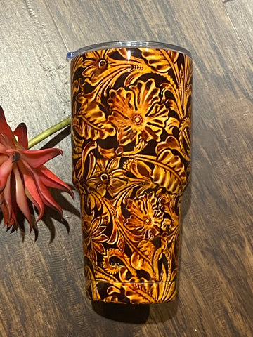 Tooled Leather Tumbler