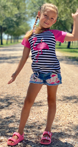 Pink stripe flamingo denim shorts set