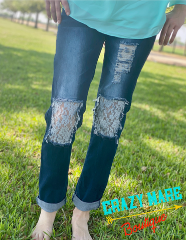 Dark Wash with Lace Boyfriend Jeans