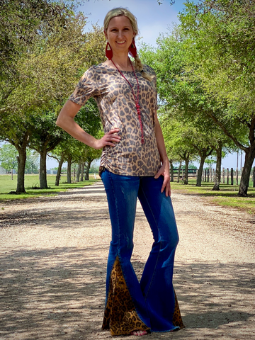 Leopard Flare Jeans