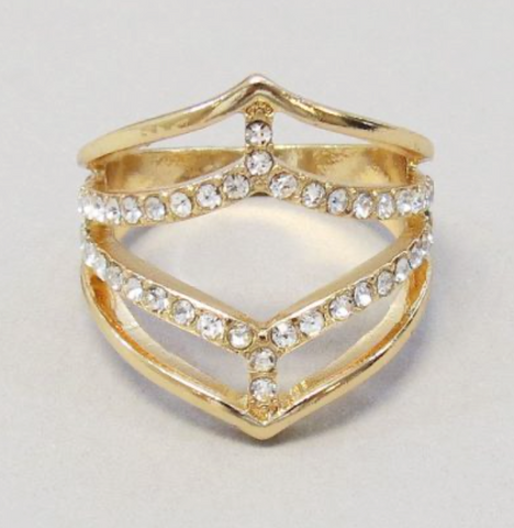 RHINESTONE WIDE RING -GOLD -SIZE 7
