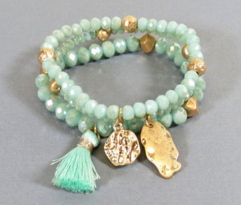 TASSEL CRYSTAL BEADED BRACELETS – MINT