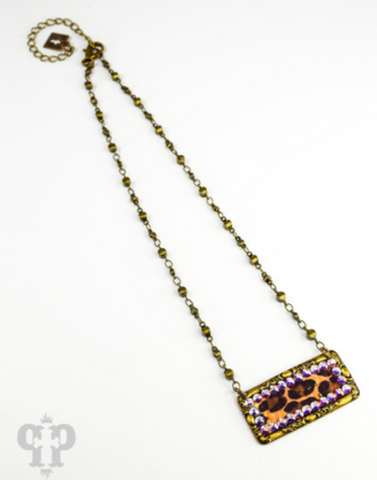 Pink Panache - Short Necklace - Leopard Rectangle