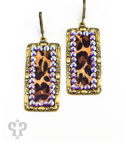 Pink Panache - Leopard Rectangle Earring