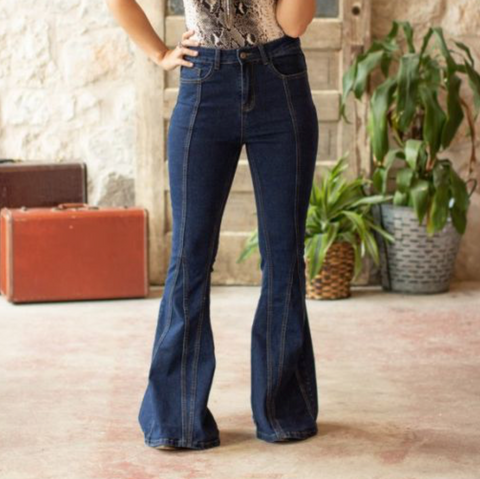 Dark Wash Denim Flare Jeans