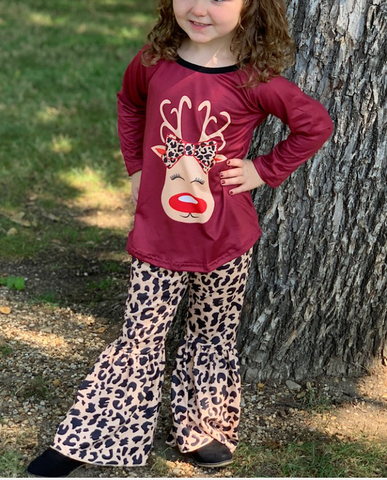 Reindeer Top with Cheetah Bell Pants