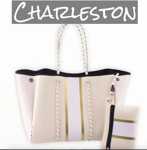 Cream and Gold Neoprene Tote