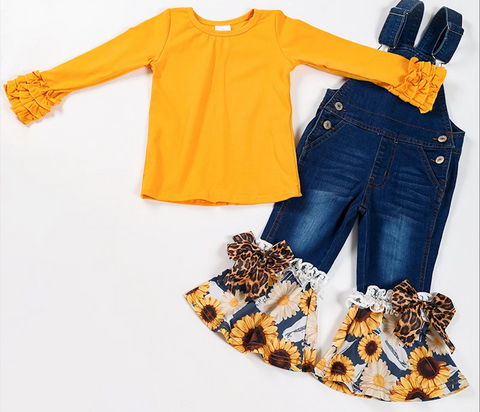 Sunflower Ruffle Denim Overall with Icing sleeve shirt set
