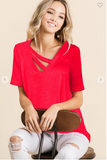V-NECK KNIT JERSEY TOP WITH DOUBLE STRAP NECK