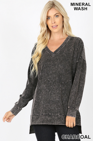 Mineral Washed Vneck Long Sleeve - Charcoal