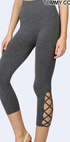 Lattice-hem High Waist Tummy-Control Capri - Charcoal
