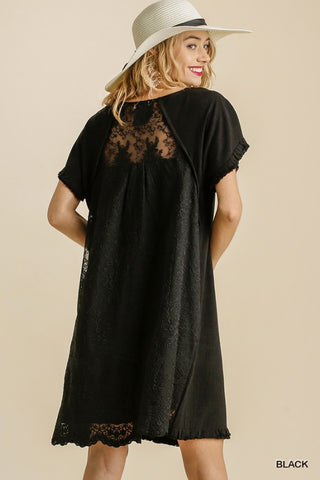 Linen Blend Back Floral Lace Short Sleeve Dress with Pockets and Fringed Hem