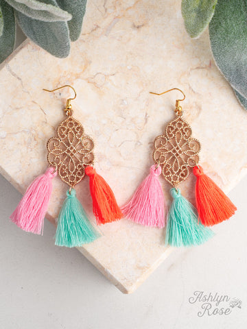 Bohemian Dreams Ornate Earrings with Multicolored Tassels