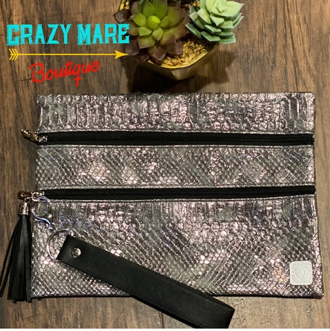 Silver Snakebite Double Zipper Versi Bag