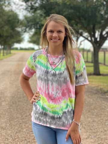 TIE DYE PRINT TOP WITH RAGLAN SLEEVES
