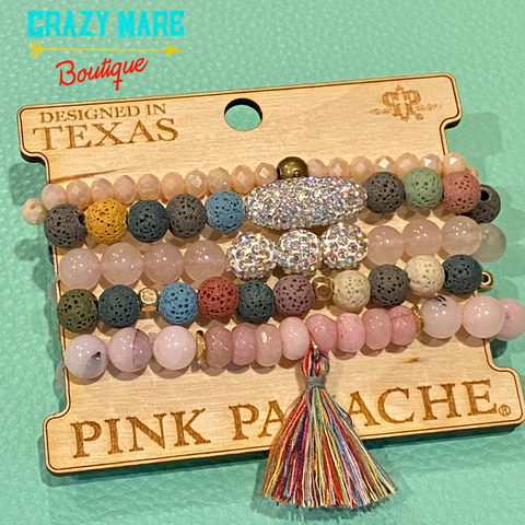 Pink Panache - Beaded Bracelet Set - Multi with Tassel