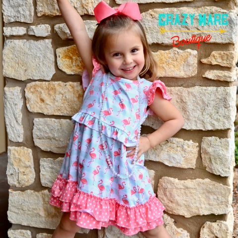 Flamingo Stripe Girls Dress