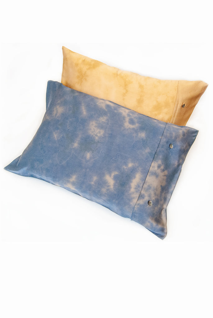 Blue Tie Dye Charmeuse Pillowcase