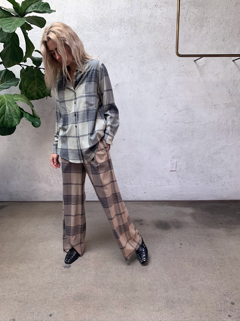 Mocha Plaid Paperbag Trouser